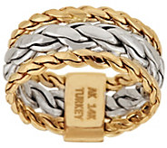 As Is 14K Gold Braided Woven Curb Link Design Ring - J324024