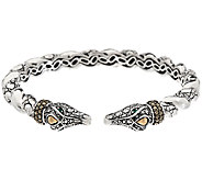 JAI Sterling & 14K Marcasite Double Head Croco Cuff - J324124