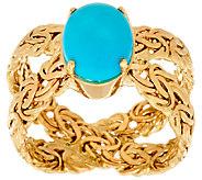 14K Gold Turquoise Byzantine X-Ring - J324624