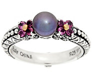 Barbara Bixby Sterling & 18K Cultured Pearl & Rhodolite Ring - J330524