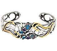 As Is Carolyn Pollack Gemstone Butterfly Sterl ing/Brass Cuff - J333124