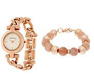 Anne Klein Rosetone Watch Watch and Pink Bead Bracelet Set - J333724