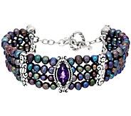 Carolyn Pollack Pearl & Amethyst 4 Strand Toggle Bracelet - J334024