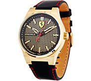 Ferrari Mens Black Leather Strap Speciale 3H Watch - J334324