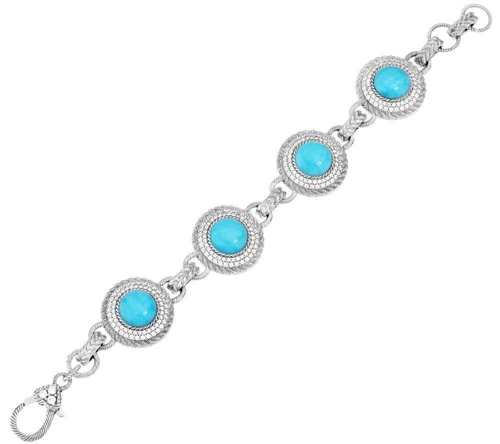 quot as is quot judith ripka sterling turquoise 6 3 4 quot bracelet qvc