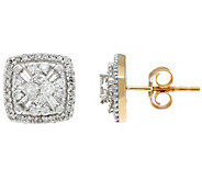 Cushion Shaped Cluster Diamond Stud Earrings, 14K, 1/2 cttw, by Affinity - J345924