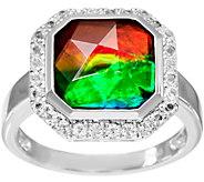 Octagon Cut Ammolite Triplet Sterling Silver Ring - J346224