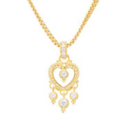 Judith Ripka 14K Clad Diamonique Heart Enhancer with Box Chain - J348224