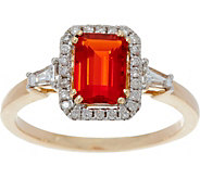 0.55 ct Fire Opal & 1/5 cttw Diamond Ring 14K Gold - J349424