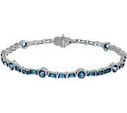 Judith Ripka Sterling Silver 6-3/4 London Blue Topaz Tennis Bracelet - J350024