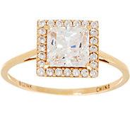 Diamonique Princess Halo Ring, 14K Gold - J353524