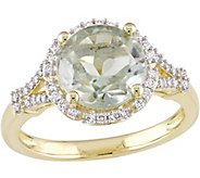 14K Gold 2.75 ct Green Amethyst & 1/5 cttw Diamond Floral Ring - J377124