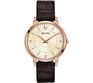 Bulova Womens Rosetone Leather Strap Diamond Watch - J378524