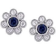 14K Gold 0.70 cttw Sapphire & 3/8 cttw DiamondStud Earrings - J379024