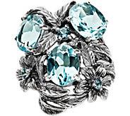 Or Paz Sterling 6.40 cttw Blue Topaz Ring - J379324