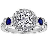 Diamonique 2.05 cttw Round Halo Antique Ring, Platinum Plated - J380524