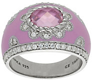 Judith Ripka Sterling Pink Diamonique Enamel Ring - J383224