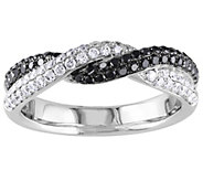 Affinity 14K 2/3 cttw Black & White Diamond Twisted Band Ring - J383724