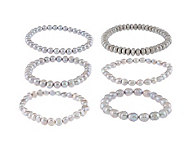 Honora Cultured Pearl Set of 6 7-1/4 Stretch Bracelets - J159825