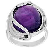As Is Hagit Sterling 13.00 ct Amethyst Cabochon Scroll Ring - J276825