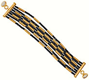 Bronze Multi-strand Hematite Bead Bracelet by Bronzo Italia - J281325