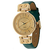 Gossip Hinged Goldtone Leather Strap Watch - J282525