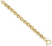 14K Gold 6-3/4 Textured Double Rolo Link Bracelet, 13.3g - J285825