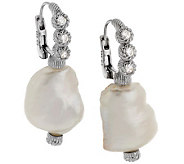 Judith Ripka Sterling Keshi Pearl & Diamonique Drop Earrings - J288325