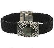 Carolyn Pollack Sterling Mother-of-Pearl Doublet Leather Bracelet - J289925