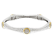 Pave Diamond Ribbed Bangle, Sterling & 14K Clad, 1/2cttw by Affinity - J291125