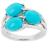 Sleeping Beauty Turquoise 3-Stone Design Sterling Ring - J294525