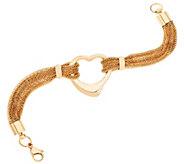 Stainless Steel Multi-Strand Bracelet with Heart Center - J294625