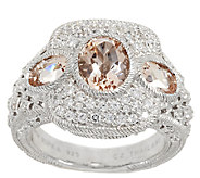 Judith Ripka Sterling 1.60 ct Morganite & Diamonique Ring - J297025
