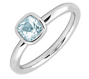 Simply Stacks Sterling & Cushion Cut AquamarineRing - J299425