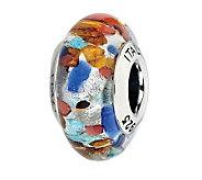 Prerogatives Red/Orange/Blue Spotted Italian Murano Glass Bead - J300125