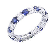 Diamonique & Simulated Sapphire Eternity Ring,Platinum Clad - J302425