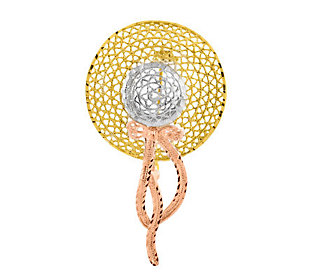 Tri-color Diamond-Cut Hat Pin,  14K Gold