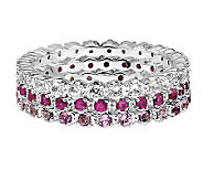 Simply Stacks Sterling Wht Topaz, Ruby, & PinkTour. Ring Set - J306025