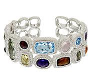 Judith Ripka Sterling 23.0 cttw Multi Gemstone Cuff Bracelet - J319925