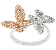 Two-Tone Double Butterfly Ring, Sterling, 1/3 cttw, by Affinity - J320725