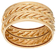 14K Gold 9.5mm Polished & Twisted Rope Double Band Ring - J321525