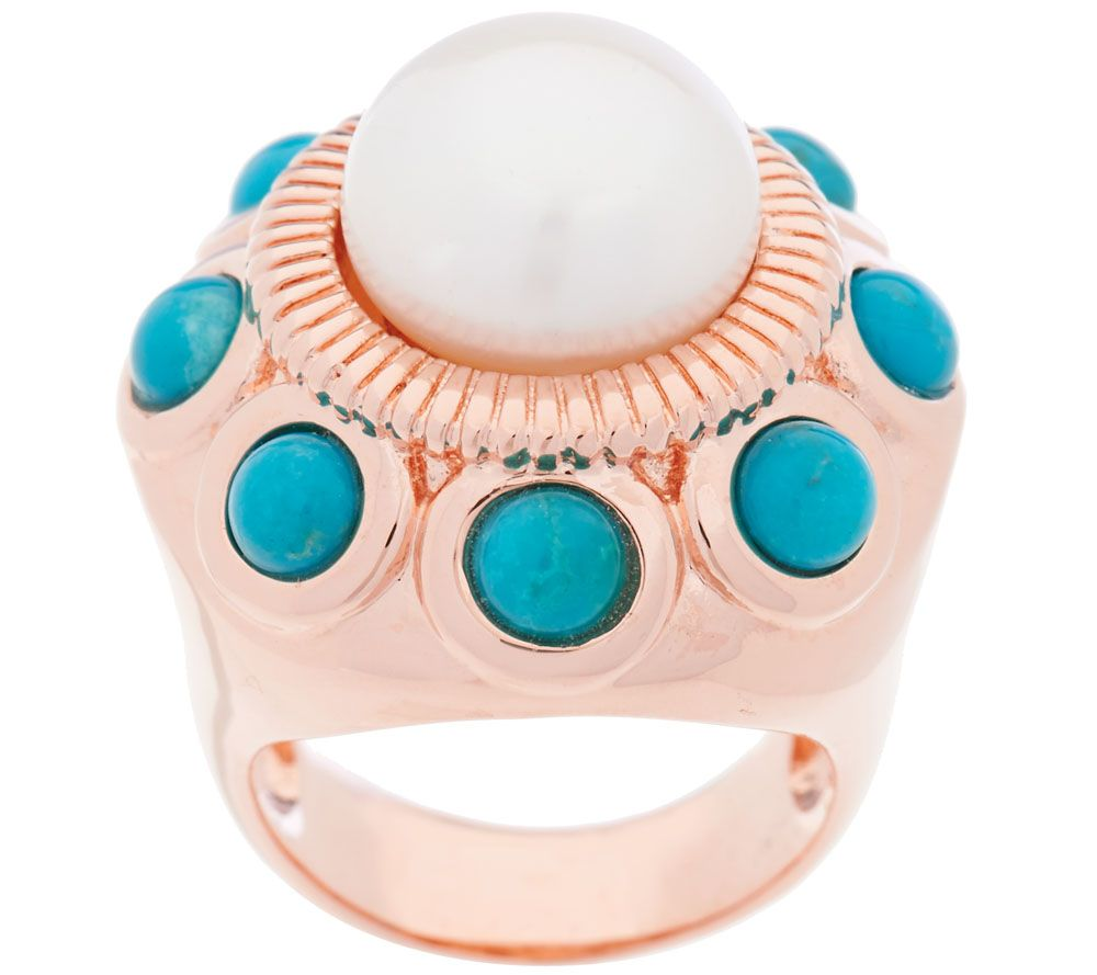 Honora Cultured Pearl 11.0mm & Turquoise Bronze Ring - J322225