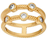 Diamonique Double Row Bezel Ring, Sterling or 14K - J322925