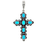 Sleeping Beauty Turquoise Sterling Cross Enhancer by American West - J323925