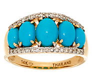 Sleeping Beauty Turquoise & Diamond Band Ring, 14K Gold 1/7 cttw - J324425