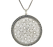 Sterling Silver Openwork Lace Pendant w/ 24 Chain by Or Paz - J324725