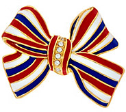Joan Rivers Enamel and Pave Patriotic Bow Pin - J327725