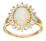As Is Ethiopian Opal and White Zircon Ring, 14K, 1.00 cttw - J328125