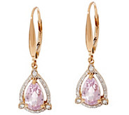Pear Shaped Kunzite & Diamond Earrings, 14K 1.90 cttw - J329325
