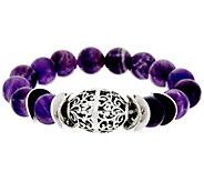 Luv Tia Sterling & Amethyst Bead Stretch Bracelet - J330225